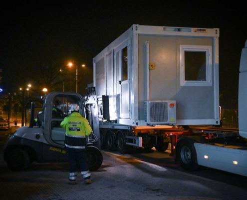 Ospedale Santa Croce di Cuneo - trasporto container
